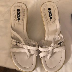 "White Soda Sandal size 7 heel is 3"" to 1"" platform"